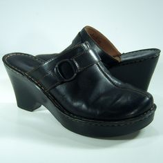76fa84a7c6d Born Mules Clogs Slip On Size 9 Womens Shoes Black Leather Heels O Ring  Buckle