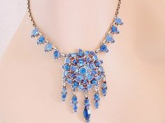 Rare Hollycraft Necklace Blue Rhinestones - Medallion via Etsy