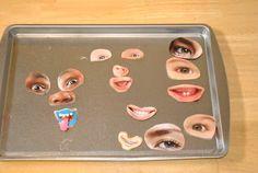 The Iowa Farmer's Wife: Making Faces Magnets - cut out facial feature pictures and glue onto magnets. Kids can rearrange and make fun faces. Would be fun with pictures of people you actually know.
