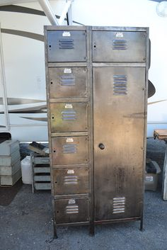 Cool Old Lockers From Time Worn Intertiors Blog Spot ~ Would be great in a workshop, mud room or kid's room.