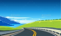 Buy Turning Highway Banner by Genestro on GraphicRiver. Highway with mountains and blue sea. Heaven Painting, Vector Design, Graphic Design, Board Game Design, Nature Vector, Web Design Tutorials, School Themes, Vector Graphics, Vector Art