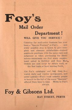 Department store marketing towards farmers and those living in country towns, to sell by post -- Foy & Gibsons Ltd, Perth. Australian Vintage, Old Shows, Department Store, Perth, Farmers, Booklet, Vintage Posters, Avon, Schedule