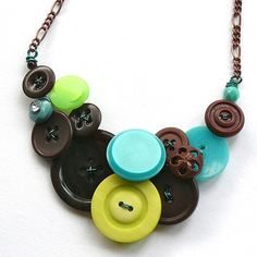Lime Green, Teal, and Brown Fun Chunky Vintage Button Statement Necklace