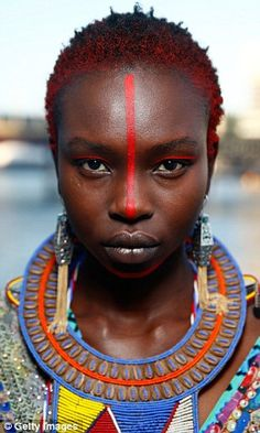 Tribal influence: Each of the models also rocked beautiful tribal make up to match their d. African Tribal Makeup, African Beauty, African Tribes, African Women, Tribal Face Paints, African Image, Tribal Women, Afro Punk, We Are The World