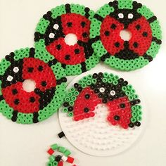 Ladybug glass cover set hama beads by charlottevindpless