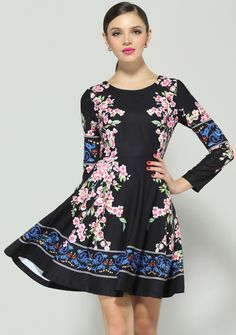 Buy Black Long Sleeve Floral Pleated Dress from abaday.com, FREE shipping Worldwide - Fashion Clothing, Latest Street Fashion At Abaday.com