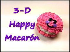 Happy Macaron Tutorial by feelinspiffy (Rainbow Loom) Rainbow Loom Easy, Rainbow Loom Tutorials, Rainbow Loom Patterns, Rainbow Loom Creations, Rainbow Loom Bands, Rainbow Loom Charms, Rainbow Loom Bracelets, Loom Band Charms, Rubber Band Charms