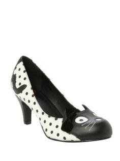 T.U.K. Kitty Polka Dot Heel size10