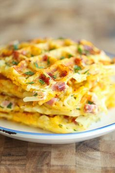 Ham and Cheese Hash Brown Waffles: If you never thought to make waffle hash browns, you should. Add some ham and cheese for a treat that will melt in your mouth.