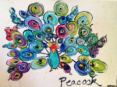 Peacock Painting, Original Peacock Bird art, Abstract painting, bright contemporary art, children's and nursery art, wild painting, colorful