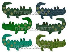 Printable party decor crocodiles Clip Art crocodile clipart decoration pdf file digital birthday party tag diy scrapbooking blue green (285)