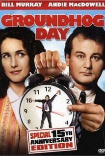 """Groundhog Day - I love this movie more than I would have thought I would.  Partly I like the way Bill Murray's character grows, partly I like the whole premise (what if you could keep doing things over until you got them right?) (and then there's what he does to the alarm clock after waking up every single day to Sonny and Cher singing """"I Got You Babe"""".  :-)"""
