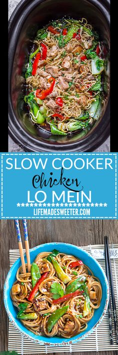 Slow Cooker Chicken Lo Mein makes the perfect easy Asian-inspired weeknight meal! Best of all, takes only 15 minutes to put together with the most authentic flavors! So delicious and way better than any Chinese takeout!