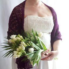 Purple Beaded Lace Shawl, Wedding Shawl £250.00