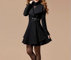 Solid Color Noble Style Worsted Turn-Down Collar Long Sleeves Coat For Women (BLACK,S) | Sammydress.com