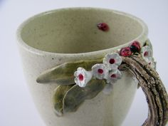 Floral Ladybug Mug/Cup with Tree Branch Handle. by HopnFrogPottery