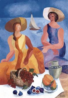 Alexandra Exter (Russia 1882-1949)  Picnic on the beach (c. 1928)  oil and tempera on canvas 116.2 x 81 cm