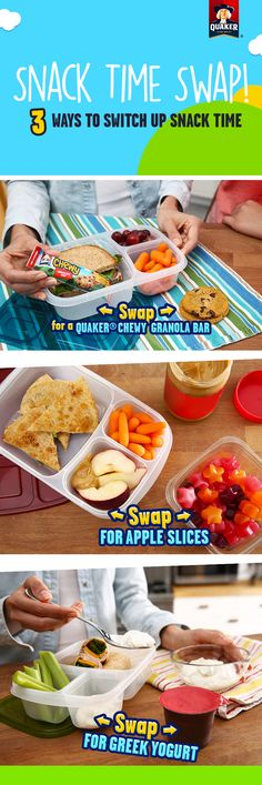 Tired of the same after school snacks? Try switching it up sometime with these 3 swaps. Our favorite is replacing a cookie for a Quaker® Chewy Granola Bar! They're made with 8g of 100% whole grains and other yummy ingredients like real chocolate chips for a delicious afternoon snack that you'll both feel good about!