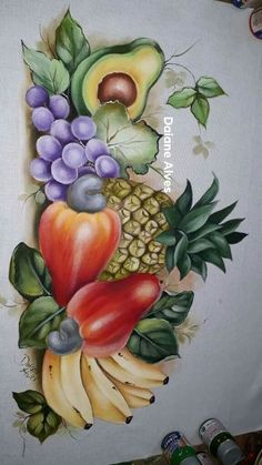 You - Food Carving Ideas Watercolor Paintings For Beginners, Acrylic Painting Lessons, Fruit Painting, Fabric Painting, Art Drawings For Kids, Cool Drawings, Basket Drawing, Colored Pencil Artwork, Mother Art