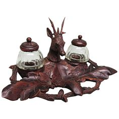 Antique Inkwell Inkstand Black Forest Germany Carved Wood by Cobayley Vintage Jewelry Antiques and Collectibles a RUBY LANE SHOP
