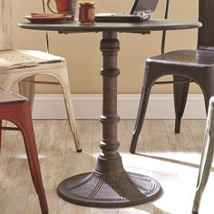 Oswego Distressed Black Round Tetal Industrial Bistro Table by Coaster 100063 #Coaster #Transitional