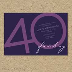 40th birthday party invitation fortieth por saralukecreative