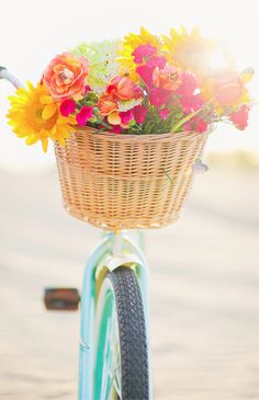 Absolutely beautiful! Bright summer flowers on an aqua bike.