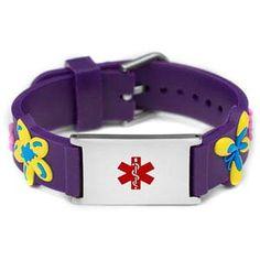 Purple Flower Power Medical ID Bracelet for Girls