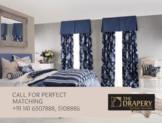 Inspiring Tips for Mediterranean Bedroom Design Bedroom Designs For Couples, Romantic Bedroom Design, Small Bedroom Designs, Cool Curtains, Curtains Living, Modern Curtains, Bedroom Curtains, Window Curtains, Blue Curtains