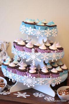Halloween Treats and The Cupcake Tower Frozen Theme Party, Frozen Birthday Party, Birthday Parties, Birthday Ideas, Half Birthday, Winter Wonderland Party, Winter Onederland, Cupcakes, Cupcake Cakes