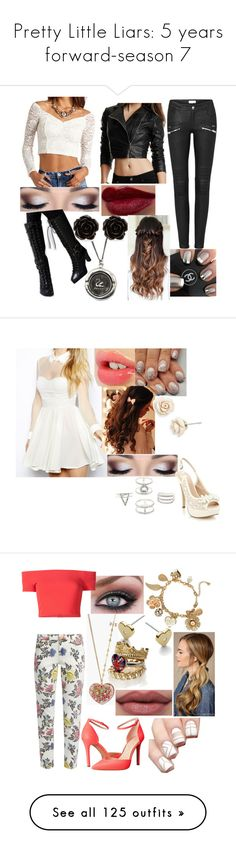 """""""Pretty Little Liars: 5 years forward-season 7"""" by sophie-quake-jones ❤ liked on Polyvore featuring GUESS by Marciano, FOXCiTY, Erica Lyons, Arrogant Cat, Charlotte Tilbury, Betsey Johnson, Faith, Charlotte Russe, House of Holland and Alice + Olivia"""