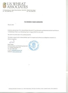 High Tech Vision Company  Egypt  Letters Of Recommendation