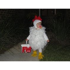 We call her chicken, it's only fitting that we make her a chicken costume for Halloween!