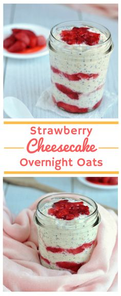 Healthy Strawberry Cheesecake Overnight Oats Recipe [Low FODMAP] [Gluten-Free] [Dairy-Free] [Vegan] This healthy low FODMAP breakfast recipe really does taste like strawberry cheesecake! Its loaded with nutritious ingredients but tastes so good youll sw Fodmap Breakfast, Healthy Breakfast Recipes, Best Breakfast, Healthy Strawberry Recipes, Overnight Breakfast, Dessert Healthy, Brunch Recipes, Oats Recipes, Gourmet Recipes