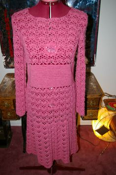 Pink Crochet Dress 70 s 80 s Maxi hand crochet Vintage lacy knit cutout boho
