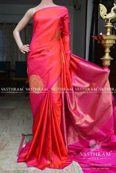 Dual tone pink pure kanchivaram silk saree with circle zari motif on all over the body with rich pallu Cost 15500 Whatsapp 91 7019277192 Simple Saree Designs, Simple Sarees, Trendy Sarees, Silk Saree Blouse Designs, Fancy Blouse Designs, Indian Silk Sarees, Soft Silk Sarees, Indian Dresses, Indian Outfits