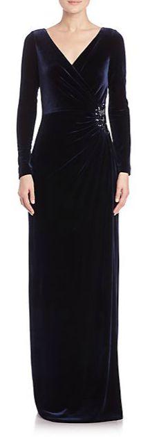 Teri Jon by Rickie Freeman Velvet Column Gown