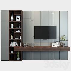3d models: TV Wall - TV shelf 09 Tv Cabinet Design, Tv Unit Design, Tv Wall Design, Modern Tv Room, Modern Tv Wall Units, Modern Closet, Tv Unit Decor, Tv Decor, Ikea Living Room