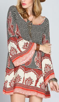 Beautiful multicolor antique long sleeve vintage print dress. Show off your style!