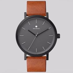 The new brown leather strap minimal luxury watch from Jules Bonnet will make you happy and elegant.  #watch #elegant #minimal #luxury #leather #strap #gray #bran #love #white #design