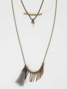 Altar'd State Triple Layer Tassel Necklace