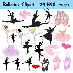 Ballet Silhouette Digital Clipart  INSTANT DOWNLOAD  by BridalBust