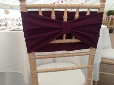 New idea for a chair decoration - in purple. Contact CliffsCushions@gmail.com Wedding Bunting, Bows, Decorations, Chair, Purple, How To Make, Collection, Fashion, Arches