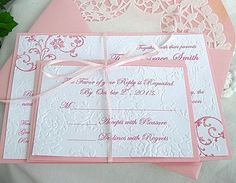 Doily Lace Wedding Invitation and Envelope Pink Rose Embossed  Elegant Shabby Chic Sample - Any Color Personalized Custom by AllThingsAngelas on Etsy https://www.etsy.com/listing/157754967/doily-lace-wedding-invitation-and