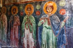 Fresco from the beautiful Byzantine church with three naves just outside the village of Kritsa in Crete