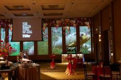 """A colorful koi pond appeared on the walls of the Peninsula Hotel's ballroom at a 2013 event. The Asian-theme event celebrated Condé Nast Traveler's """"Grand Tour of Asia Issue."""""""