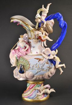 Antique Meissen Porcelain Ewer  AIR from Elements Series , pitcher, vase  #MeissenA MEISSEN 'ELEMENTS' EWER EMBLEMATIC OF AIR  BLUE CROSSED SWORDS MARK Height:  25¼ in. (64.2 cm.) high