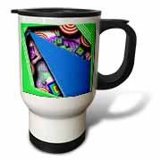 Layers of Red, Purple, Green and Blue in Many Shapes and Textures with Little Floating Squares Travel Mug
