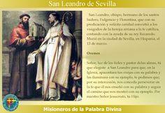 MISIONEROS DE LA PALABRA DIVINA: SANTORAL - SAN LEANDRO DE SEVILLA