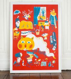 Aurélie Guillerey   affiche à jouer sérigraphie // hand screen printed play poster